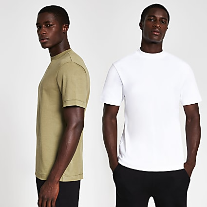 White & khaki premium regular t-shirt 2 pack