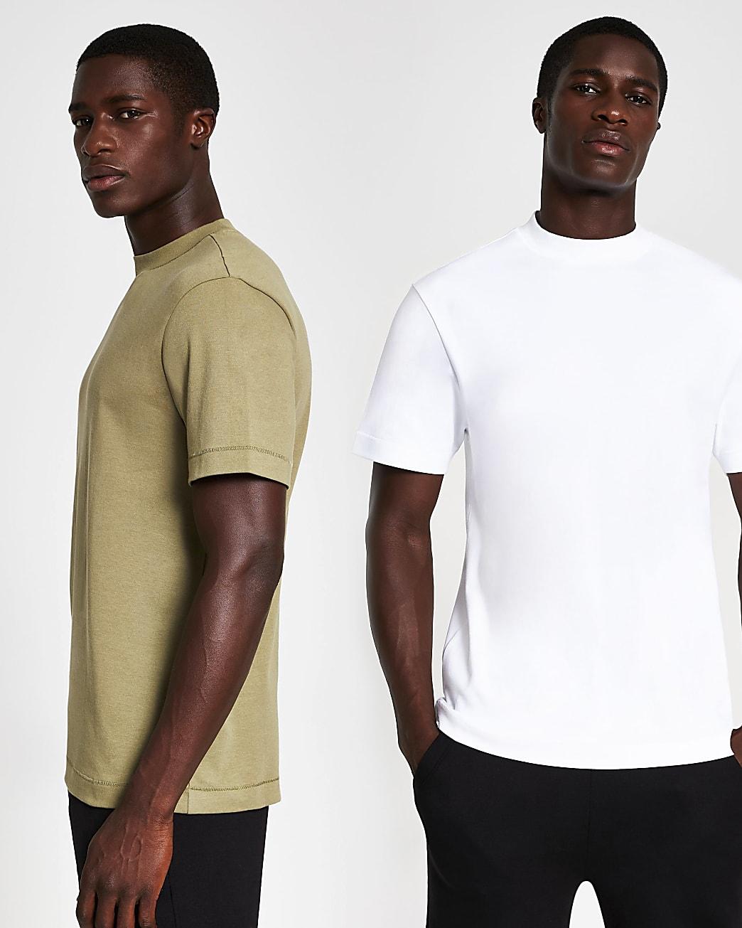 White & khaki premium t-shirt 2 pack