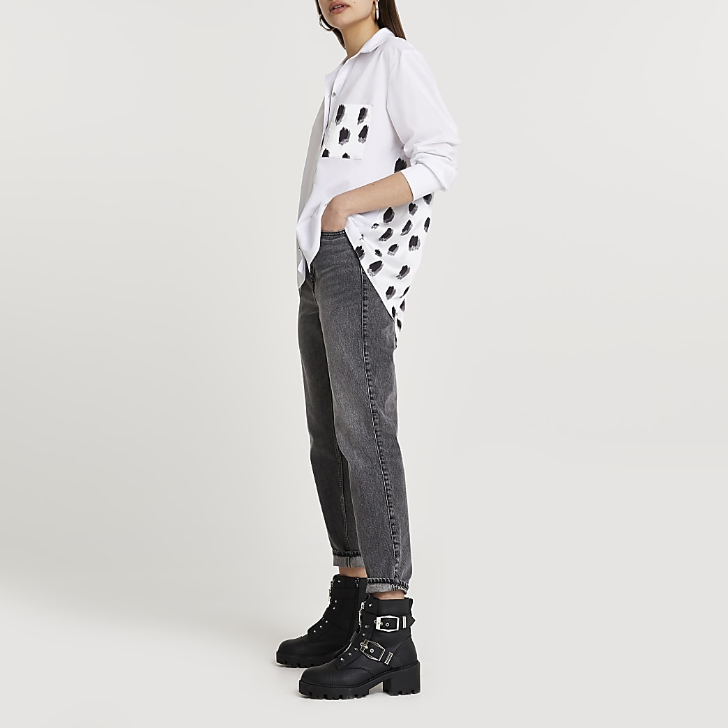 White abstract print poplin shirt