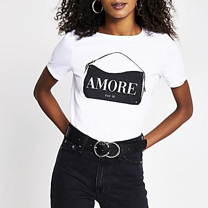 White amore handbag print t-shirt