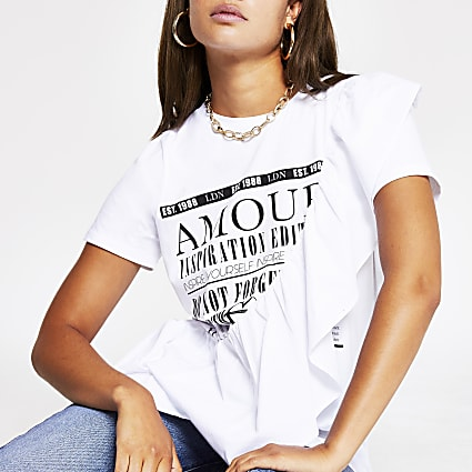 White Amour Frill T Shirt