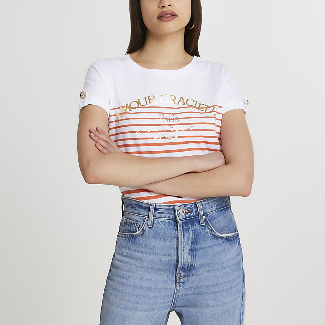White 'Amour Gracieux' stripe t-shirt