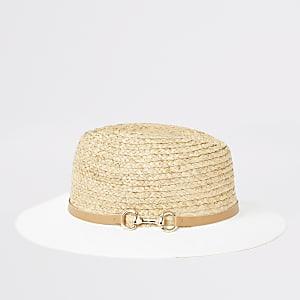 Fedora-Hut in Weiß und Beige mit Spange