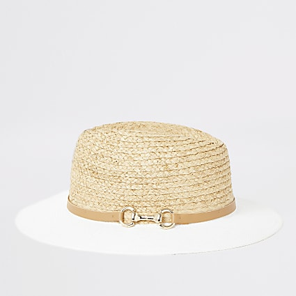 White and beige snaffle Fedora hat