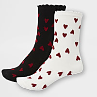 White and black heart ankle socks 2 pack
