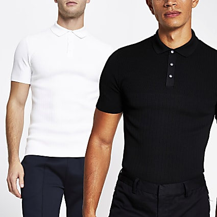 White and black polo shirts 2 pack