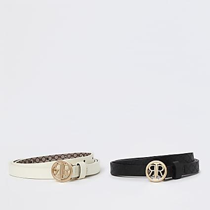 White & black RI buckle belt 2 pack
