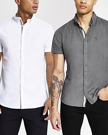 White & grey short sleeve oxford shirt 2 pack
