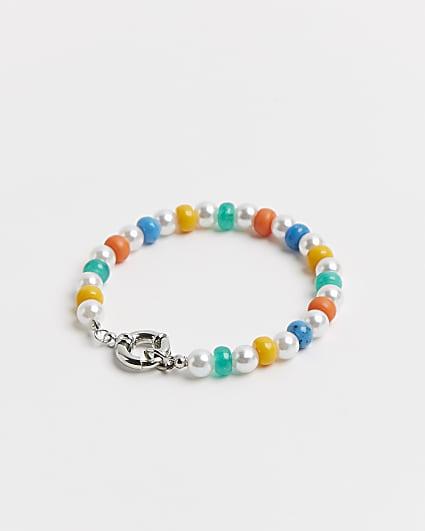 White & multi coloured beaded charm bracelet