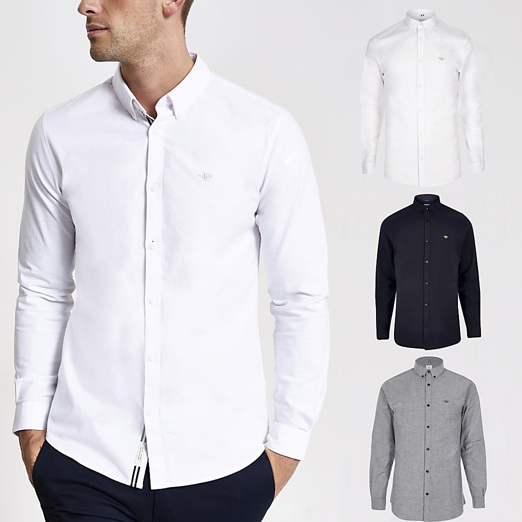 White and navy muscle fit Oxford shirt 3 pack