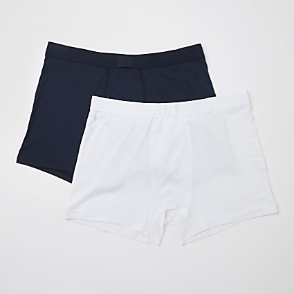 White & navy premium trunks 2 pack