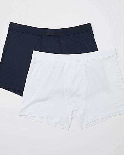White & navy premium trunks 2 pack