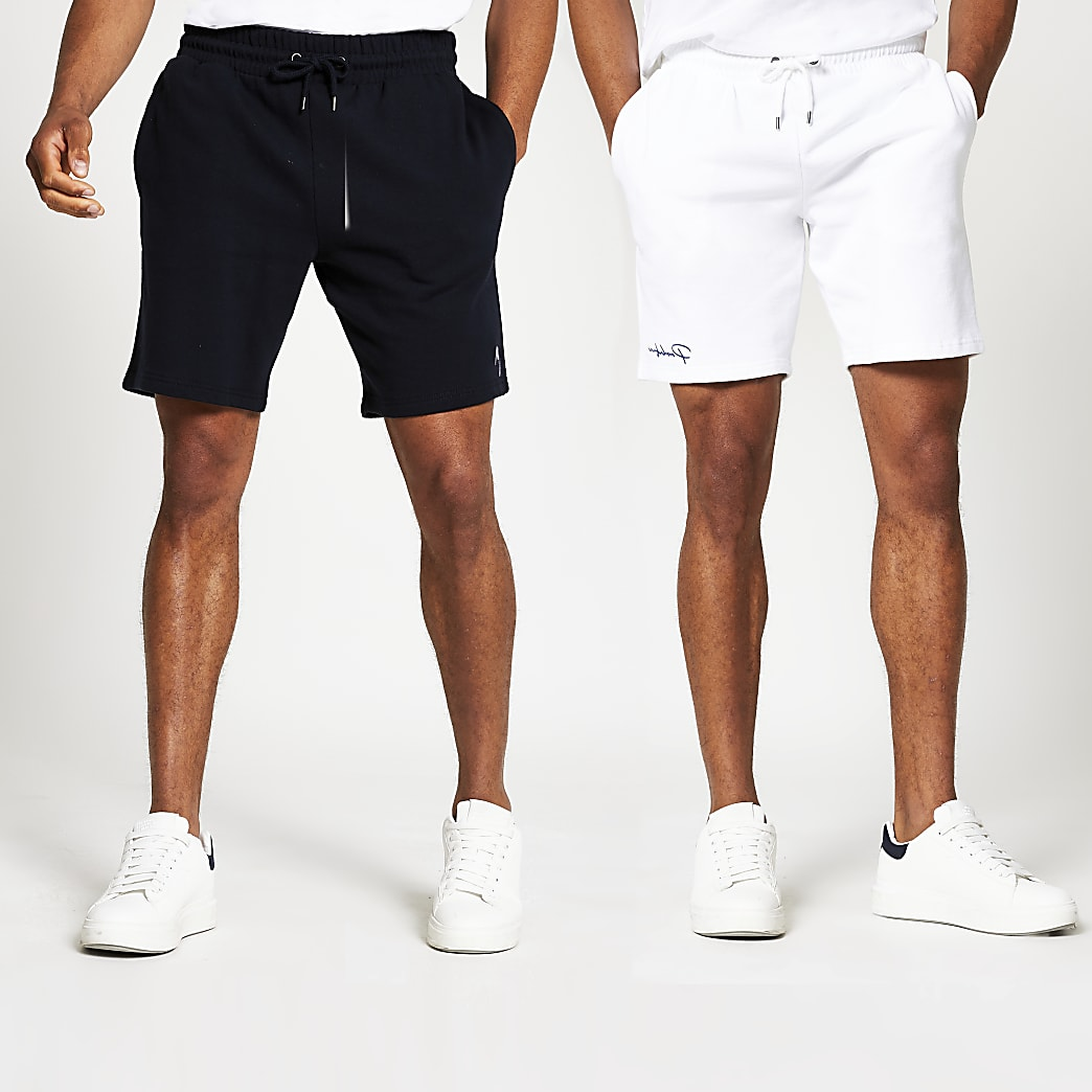White and navy slim jersey short 2 pack