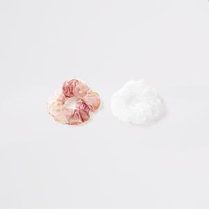 Set van 2 witte en roze organza haarscrunchies