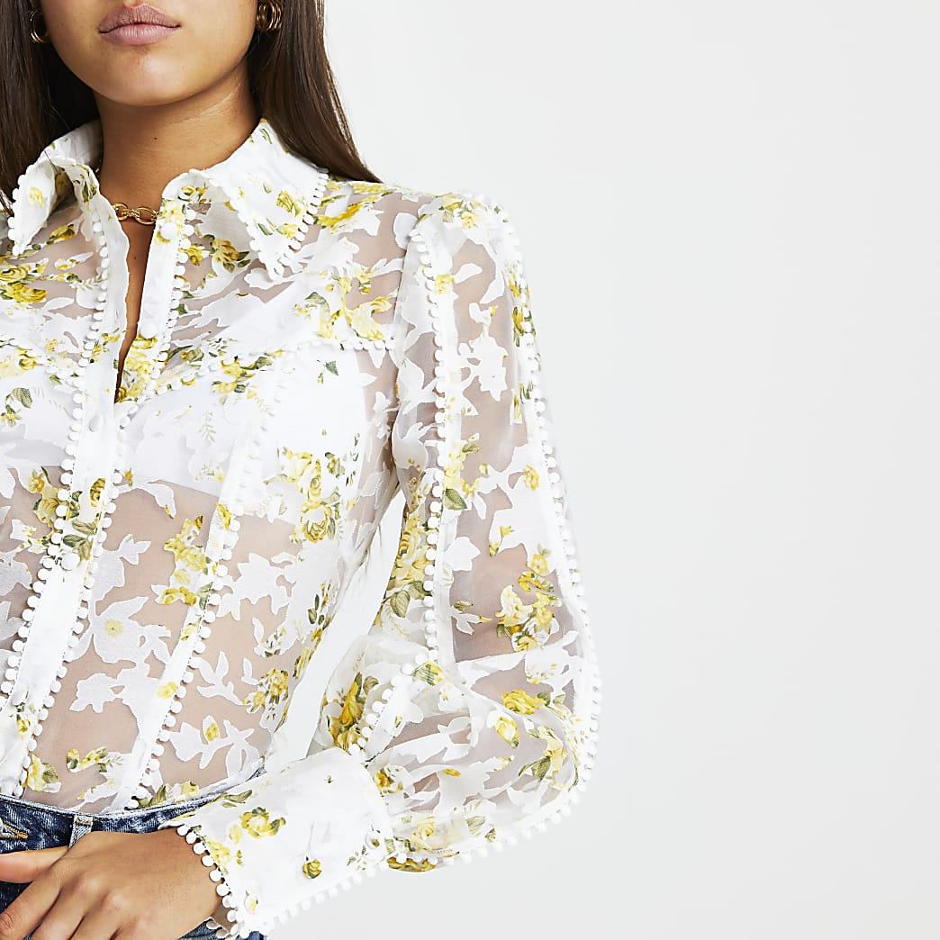 White and yellow floral print organza shirt