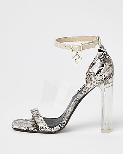 White animal print perspex heeled sandals