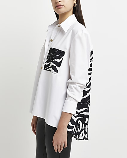 White animal print shirt
