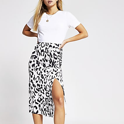 White animal print short sleeve midi dress