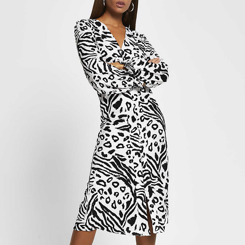 White animal print shoulder pad midi dress