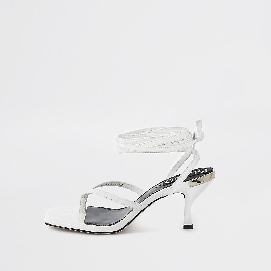 White ankle tie kitten heels