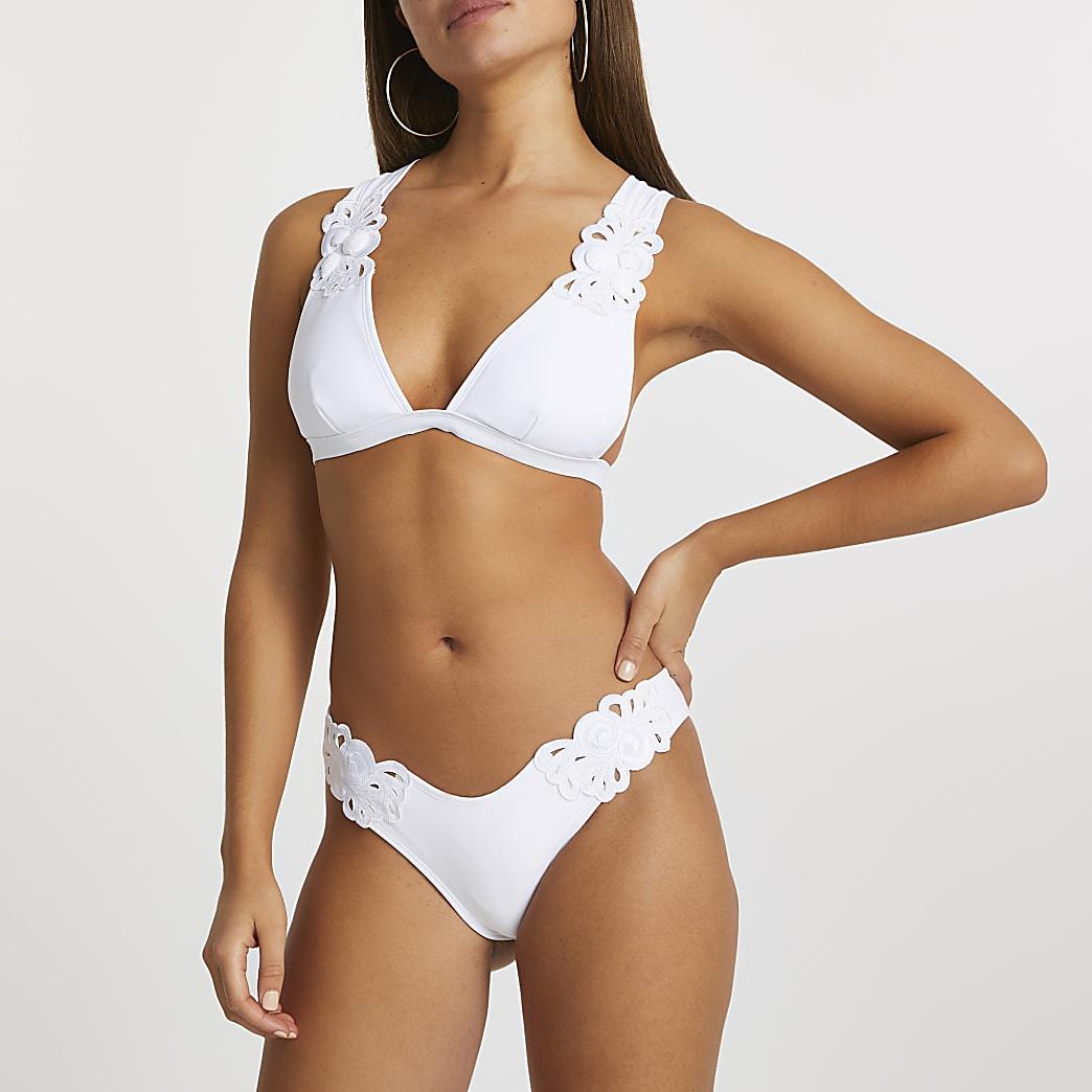 White applique design low rise bikini bottoms