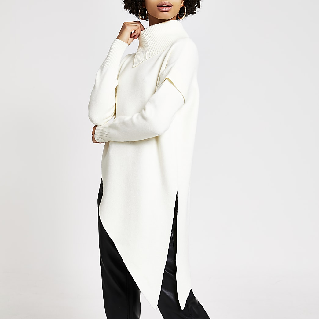 White asymmetric knitted tunic jumper