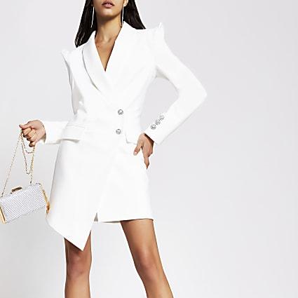 White asymmetric long sleeve blazer dress