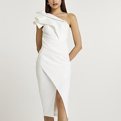 White asymmetric midi dress