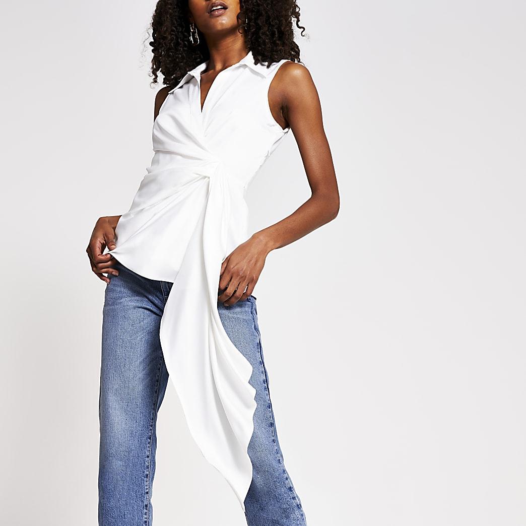 White asymmetric shirt