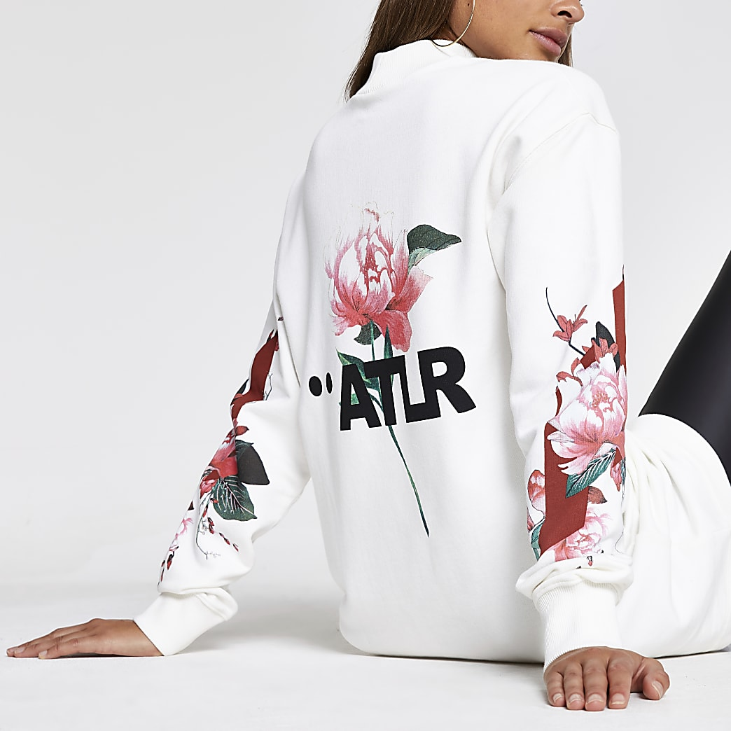 White ATLR floral sweatshirt dress