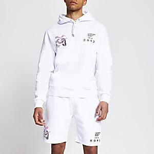 Witte regular fit hoodie met print op achterzijde