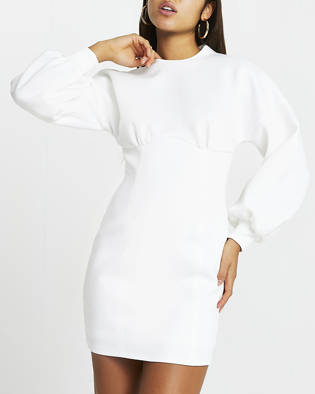 White balloon sleeve bodycon mini dress