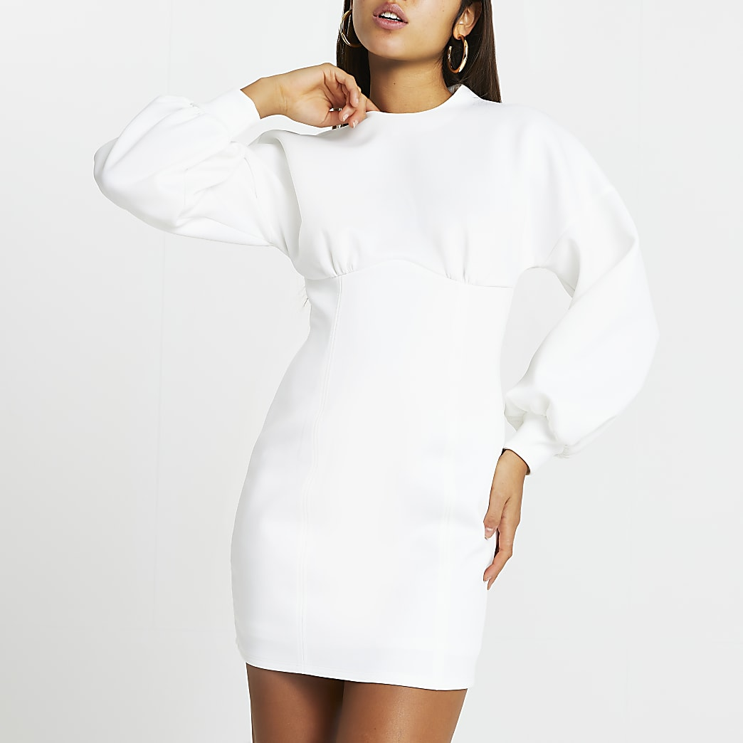 White balloon sleeve bodycon mini dress