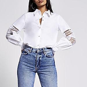 Chemise à manches bouffantes blanche