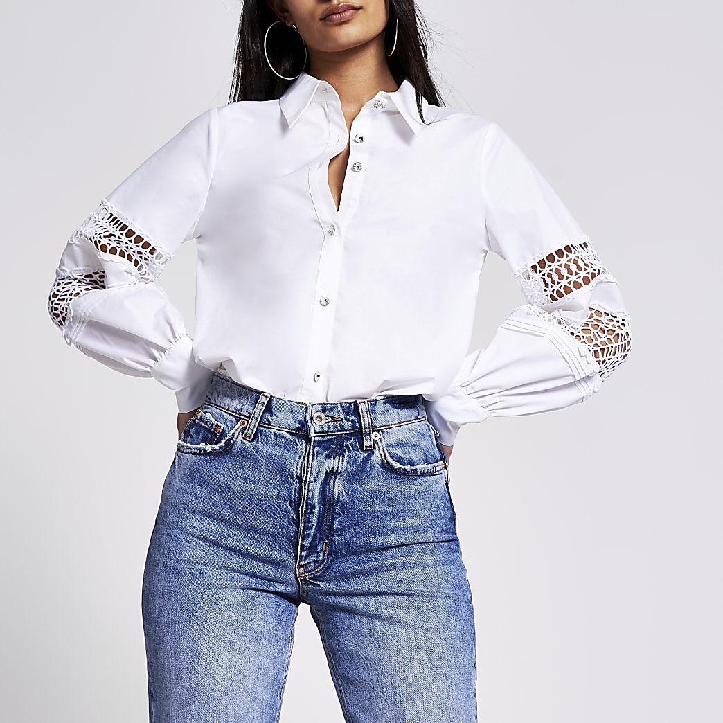White balloon sleeve shirt