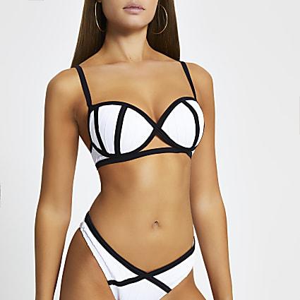 White bandage plunge bikini
