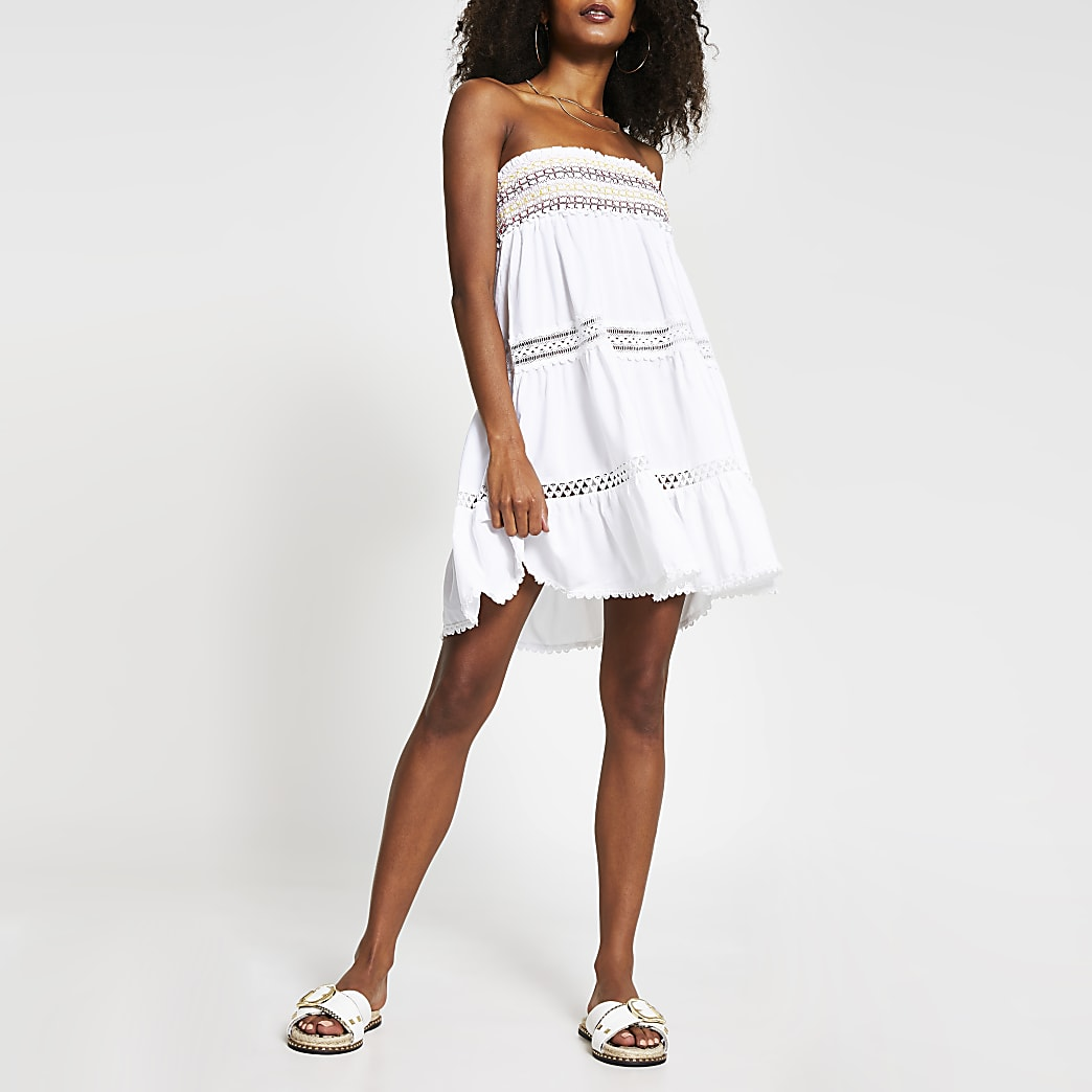 White bandeau mini beach dress