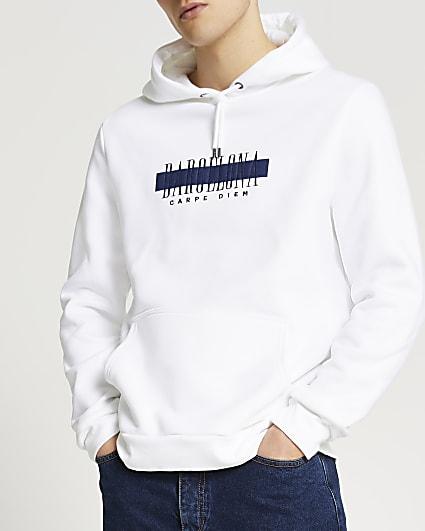 White Barcelona print hoodie