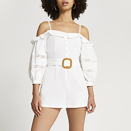 White bardot belted lace trim playsuit
