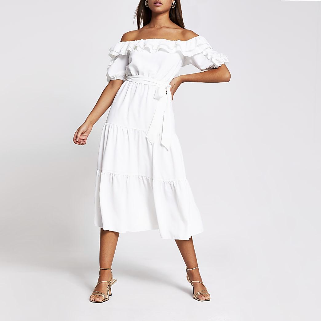 White bardot frill sleeve midi dress