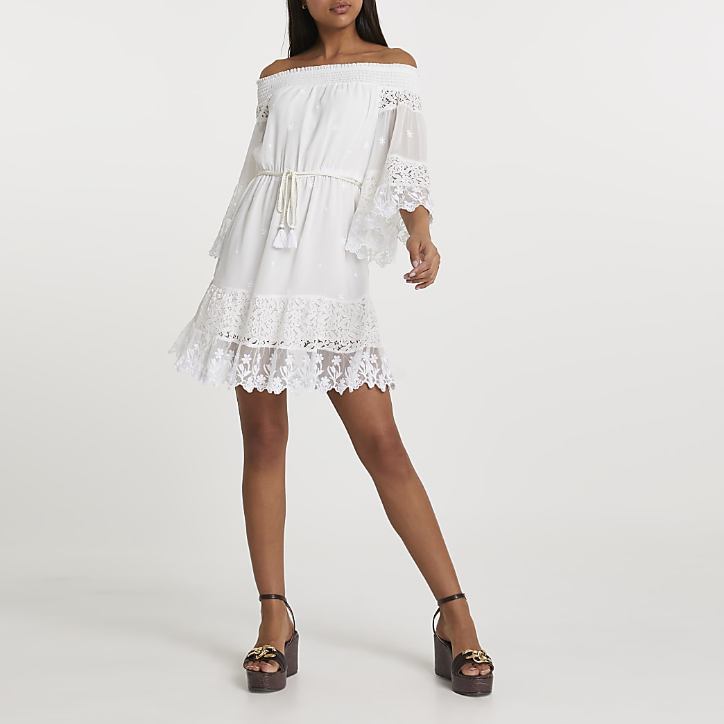 White bardot lace dress