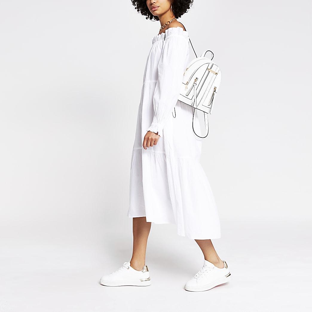 White bardot maxi puff dress