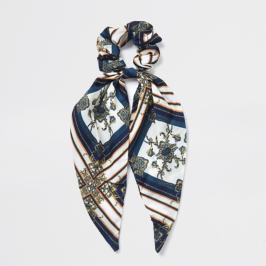 White baroque scarf print scrunchie