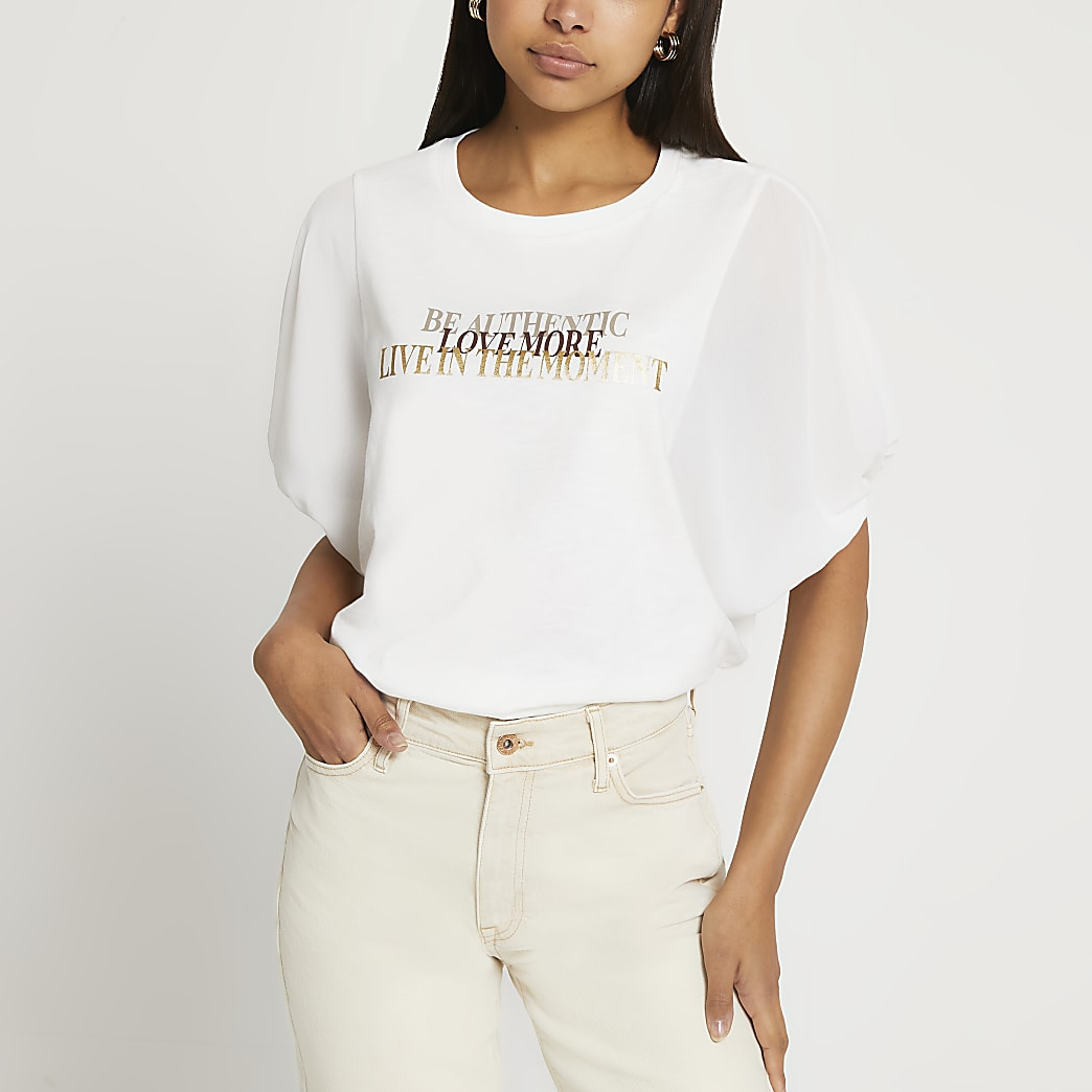 White 'Be Authentic' batwing sleeve t-shirt