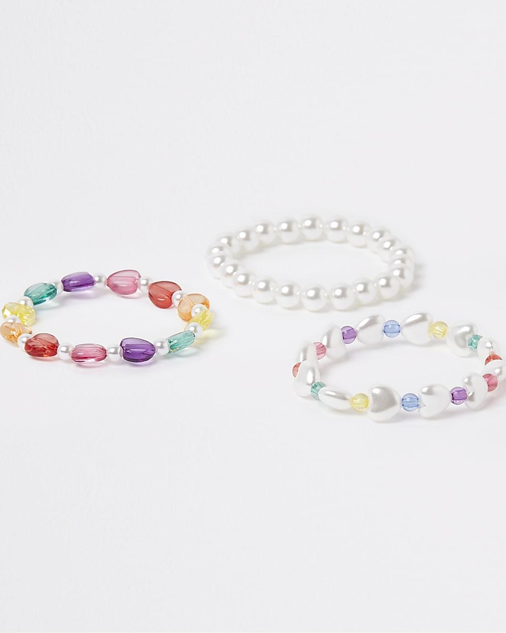 White beaded bracelet multipack