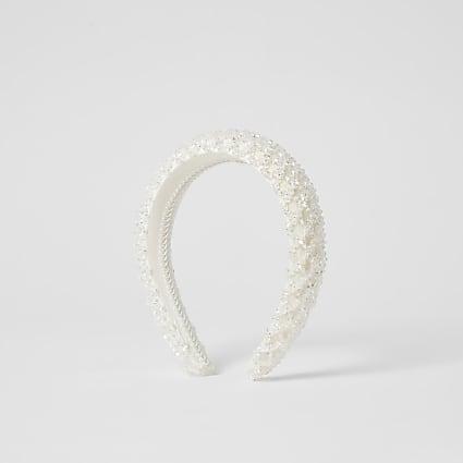 White beaded padded headband