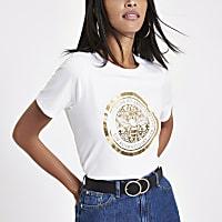 White bee foil print boyfriend T-shirt
