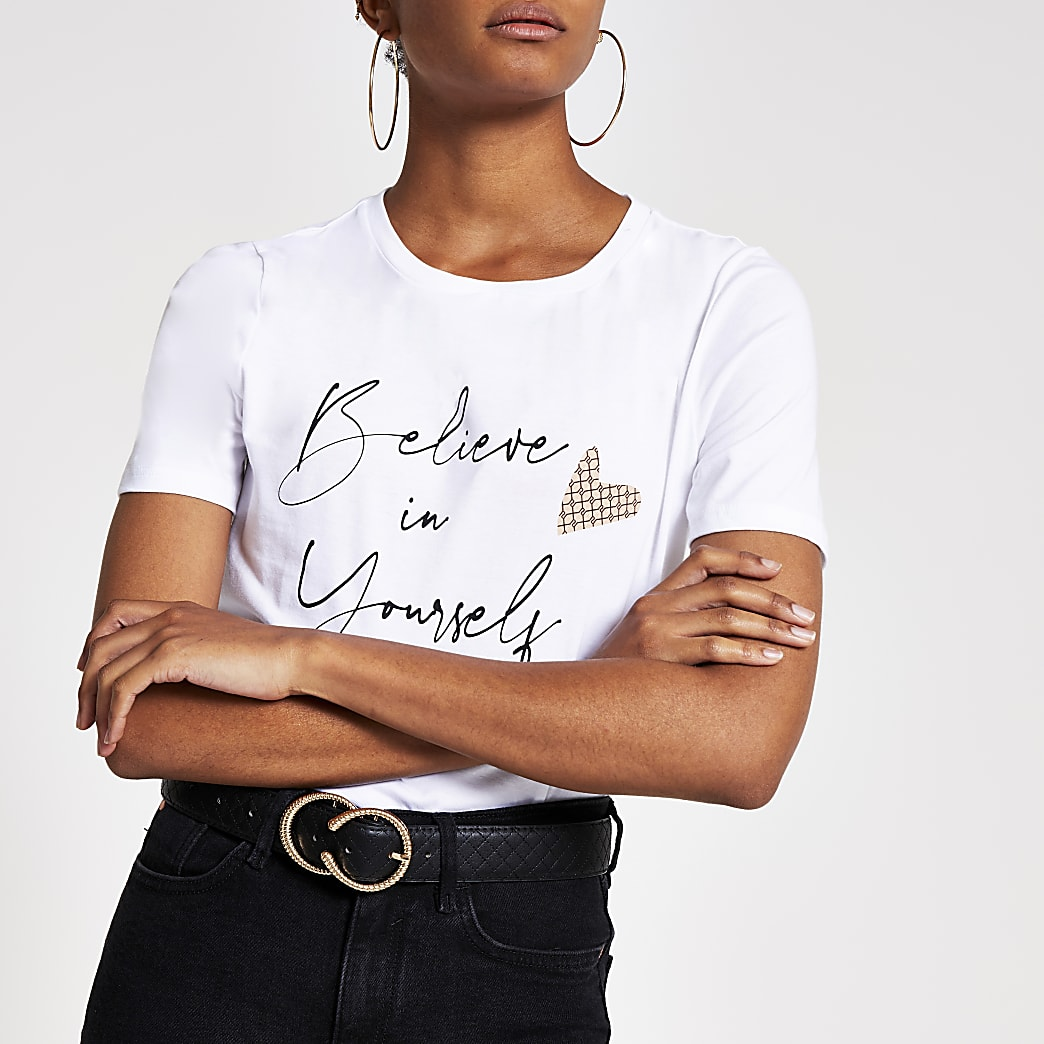White 'Believe In Yourself' T Shirt