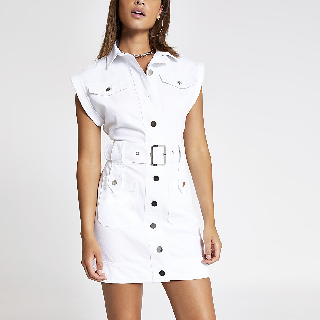 White belted midi denim dress