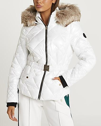 White belted padded coat
